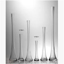 long neck clear glass flower vase for
