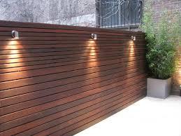 Urban Backyard Ipe Wooden Horizontal Board Fence With Lighting