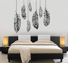 Wall Vinyl Decal Feather Romantic Bedroom Dreamcatcher Decor Unique Gi Wallstickers4you