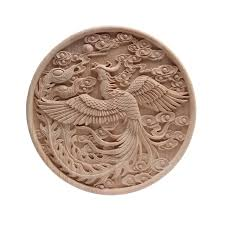European Solid Wood Phoenix Decals Custom Cabinet Patches Auspicious Round Square Furniture Door Patches Wood Decal Rubber Wood Statues Sculptures Aliexpress