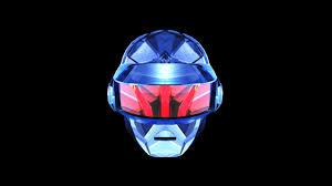 blue and red helmet daft punk