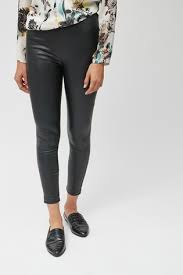 black faux leather leggings from