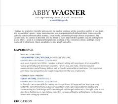 Resume – Abby Wagner