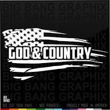 God Country Distressed Flag Vinyl Decal Sticker Car Truck Window Usa American Ebay