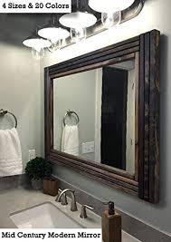 mid century modern wood framed mirror