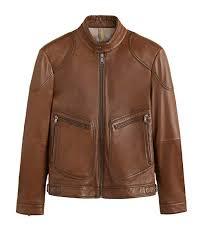 herren leather elbow patch biker jacket