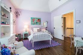 Good Looking Lilac Bedroom Kids Traditional With High Ceilings Vaulted Purple Children S Room Tall Blue Bedside Table Girls Patterned Rug