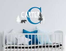 Personalized Name Wall Decal Vinyl Wall Art Carter Scandinavian Bear Surface Inspired Home Decor Wall Decals Wall Art Wooden Letters