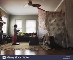 Kids Building A Tent In The Living Room Stock Photo Alamy