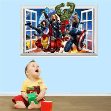 Avengers Age Of Ultron Hero 3d Window Wall Decals Removable Stickers Kids Decor