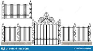 Vintage Wrought Iron Gate Design Set Stock Vector Illustration Of Haunted Graveyard 126454552