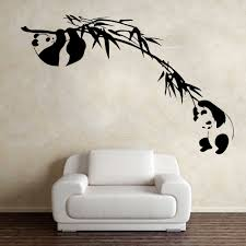 Panda Bamboo Tree Branch Wall Decals Kids Room Nursery Asian Animal Forest Jungle Panda Wall Stickers Bedroom Roommates Lw220 Wall Stickers Aliexpress