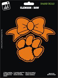 Clemson Tigers Paw W Bow Girl Decal Vinyl Sticker Car Truck Laptop Suv Window Girl Decals Tiger Paw Clemson Tiger Paw