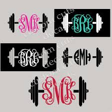 Bar Bell Decal Barbell Monogram Decal Iphone Decal Yeti Decal Tumbler Decal Car Window Decal Crossfit Decal Our White Cottage