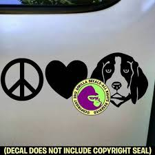 Beagle Peace Love Dog Vinyl Decal Sticker Gorilla Decals