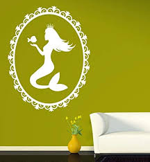 Wall Sticker Oval Frame Beautiful Silhouette Mermaid Ariel Vinyl Decal Vs544 Amazon Com