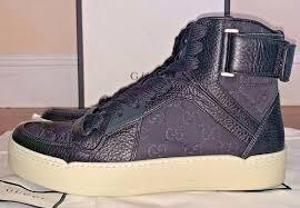 gucci mens black leather hi top