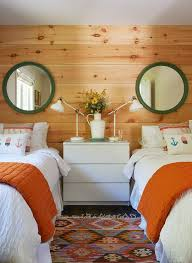 Round Green Mirrors Over Twin Beds Cottage Girl S Room