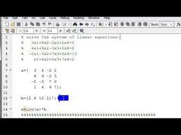 linear equations in matlab using matrix
