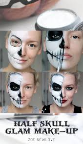 half face makeup step by step