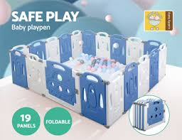 Baby Playpen Interactive Safety Gate Play Pen Child Toddler Fence 19 Panels Blue Ebay