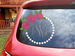 Rose Monogram Decal Pearl Monogram Frame Laptop Sticker Car Decal Flower Monogram Roses And Pearls Monogram Decal Tumbler Decals Vinyls Phone Decals