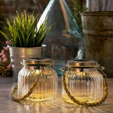 glass jar light with rope handle