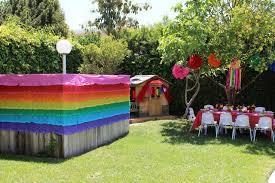 Rainbow Tea Party Birthday Party Ideas Photo 7 Of 10 Backyard Party Decorations Outdoors Birthday Party Outdoor Birthday Party Decorations