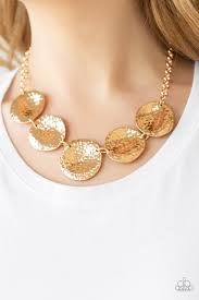 paparazzi gold hammered disc necklace