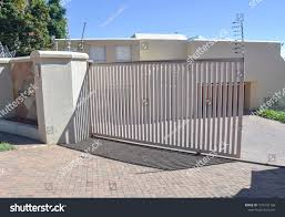 Typical Electric Fence Gate Upscale Residential Miscellaneous Stock Image 1076101766