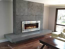 concrete fireplace surround with a