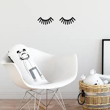 Small Children Baby Room Sleeping Eye Eyelashes Vinyl Wall Art Decal Imprinted Designs