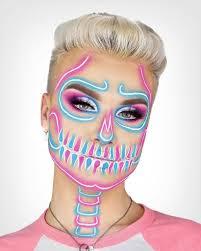 skull halloween makeup half skeleton