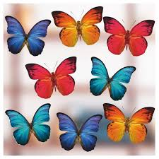 Set Of Large Coloured Butterfly Double Sided Static Cling Window Stickers Ebay