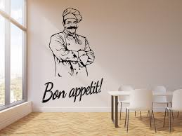 Vinyl Wall Decal Bon Appetit Kitchen Restaurant Cook Chef Stickers Mur Wallstickers4you