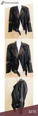 100 Italian Leather Biker Jacket Decal Sz 8 Biker Jacket Leather Biker Jacket Jackets