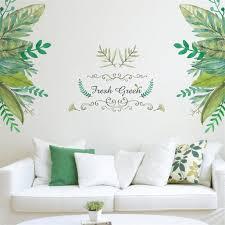 Green Leaves Wall Stickers Pvc Wall Decals Mural Room Background Decor Diy Art Decal 28 X20 Walmart Com Walmart Com
