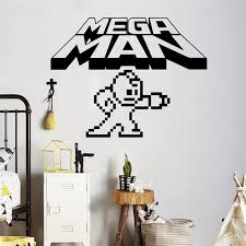 Mega Man Pixels Wall Decal Video Game Logo Wall Vinyl Sticker Retro Game Home Interior Children Kids Room Wall Decor X043 Wall Decor Kid Room Wall Decorationwall Decals Aliexpress