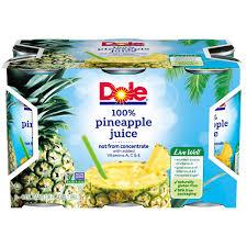dole 100 pineapple juice canned