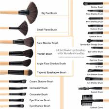 mac makeup brush set with leather pouch