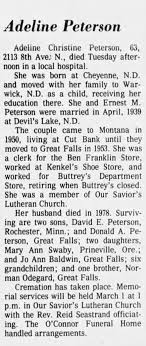 Obituary for Adeline Christine Peterson (Aged 63) - Newspapers.com