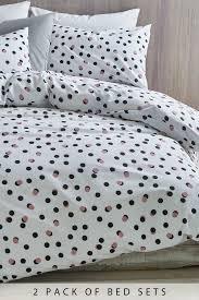 next 2 pack polka dot duvet cover and