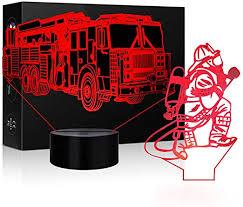 Amazon Com 3d Lamp Led Fire Truck Nightlights Or Firemen Shape Sleeps Illusion Touch Lamp Night Light Dimmable 7 Color Visual Light Kids Bedside Nightlight Firemen Decor Christmas Kids Room Fire Truck Room