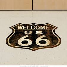 Welcome Route 66 Rusty Shield Floor Graphic At Retro Planet