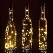 led warm white cork wine bottle