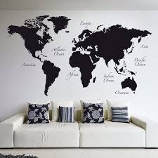 Black World Map Home D Eacute Cor Line Wall Decals