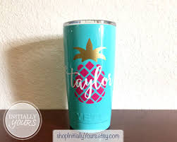 Personalized Pineapple Decal For Yeti 20oz Yeti Pineapple Etsy Pineapple Decal Yeti Cup Stickers Tumbler Decal
