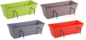 Bright Coloured Double Fence Planters Garden Outdoor Pots Hanging Bask Cheerful Bargains Ltd