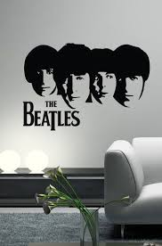The Beatles Decal Wall Vinyl Art Guitar Silhouette Heads John Lennon Paul Mccartney George Harrison Ringo Starr Arte De Silueta Murales Decoracion De Unas