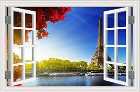 Amazon Com 3d Fake Window Seine River Paris Eiffel Tower Window Decal Wall Sticker Art Nature Landscape Home Kitchen